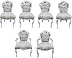 Casa Padrino Baroque Dinner Set Chair Set White Pattern / White - 4 chairs without armrests 2 chairs with armrests - furniture antique style