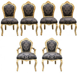 Casa Padrino Baroque Dinner Set Chair Set Black Pattern / Gold - 4 chairs without armrests 2 chairs with armrests - furniture antique style