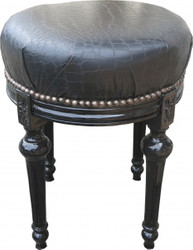 Casa Padrino Baroque Stool - Round Stool Black Croco leather look / Black - Baroque furniture Stool