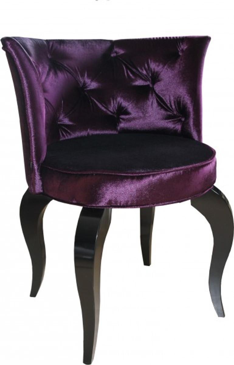 Casa padrino baroque salon chair purple black designer for Barock stuhl