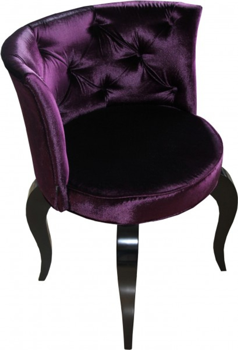 Casa Padrino Barock Salon Stuhl Lila Schwarz Designer Sessel
