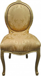 Casa Padrino Baroque Dinner Chair Medallion Gold Floral / Gold - Baroque furniture