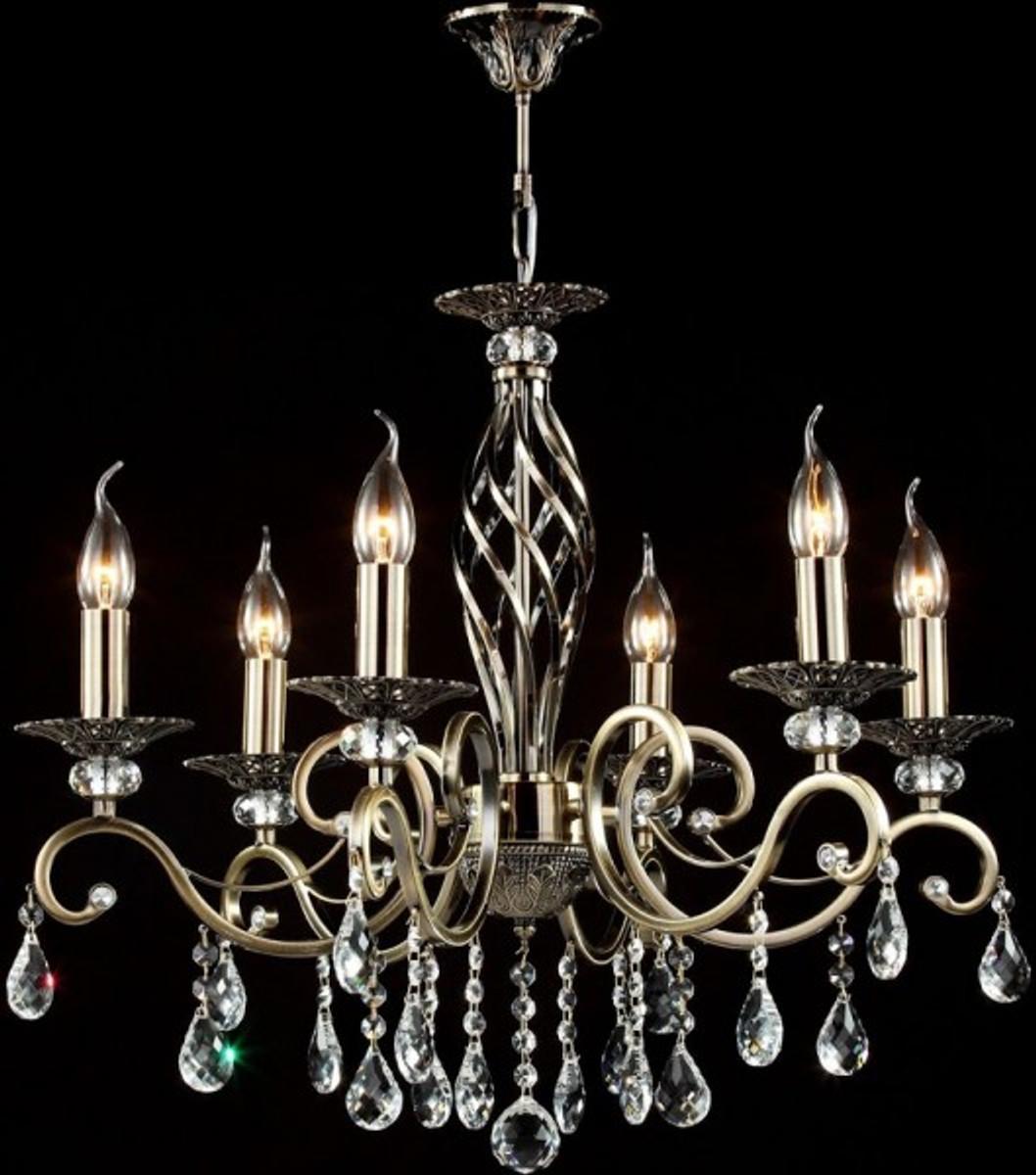 Casa Padrino Barock Kristall Decken Kronleuchter Bronze 63 X H 56 Cm Antik  Stil   Möbel
