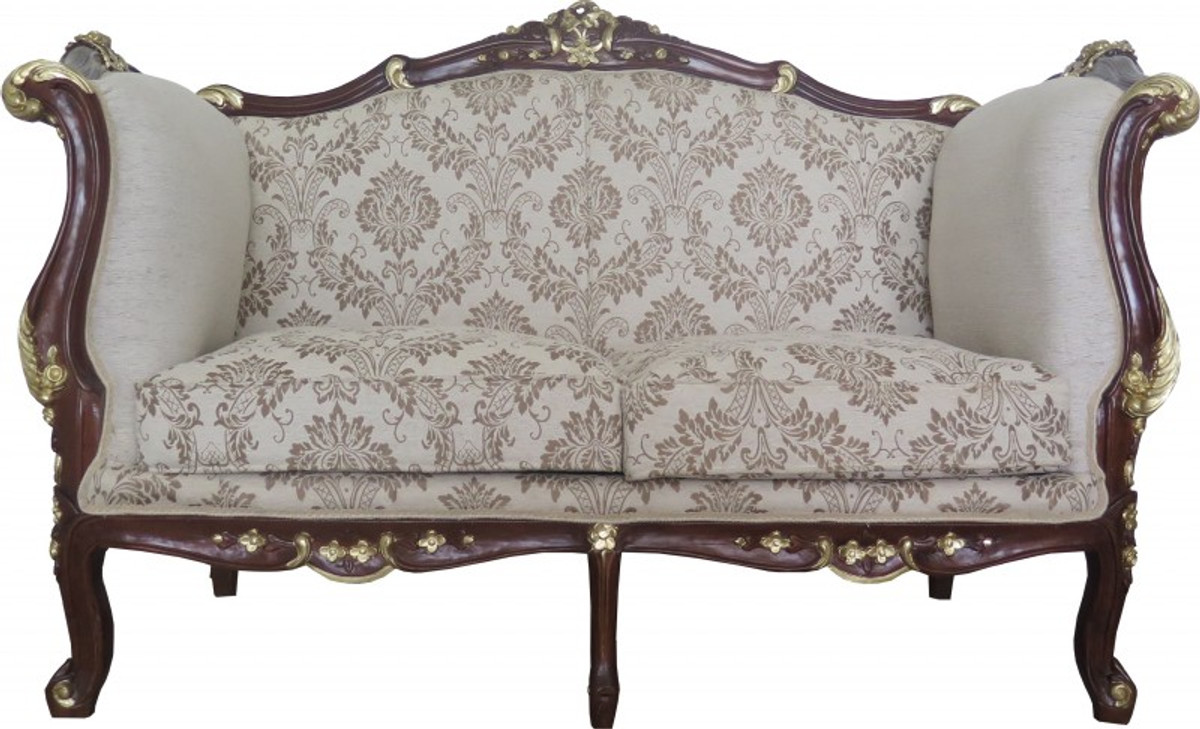 Casa Padrino Baroque 2 Seater Sofa Cream / Brown / Gold Mod 2   Furniture
