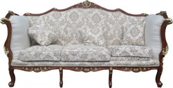 Casa Padrino Baroque 3-seater sofa cream / brown / gold Mod 2 - Furniture antique style - Limited Edition