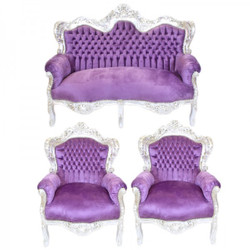 Casa Padrino Baroque Living Set King Purple / Silver - 2-seater sofa + 2 armchairs