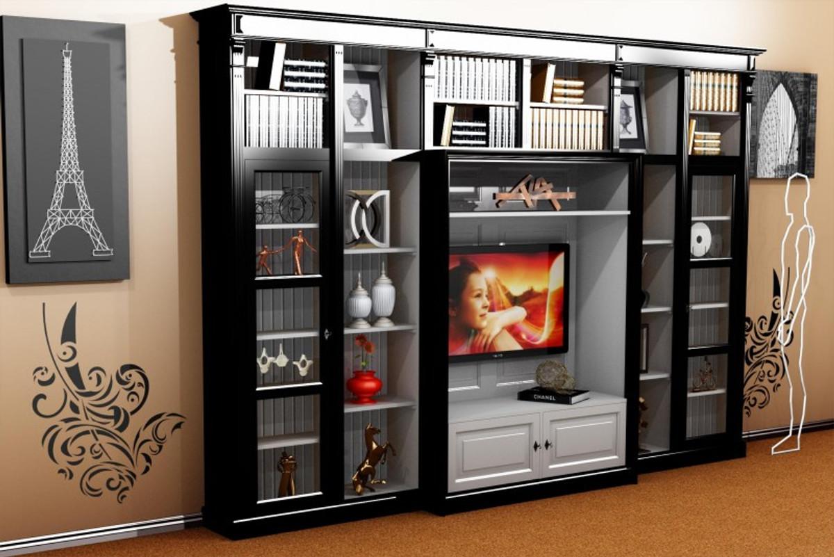 Casa Padrino Luxus Wohnzimmer Schrankwand Schwarz Weiss B 372 X H 255 Cm Bcherregal Regal