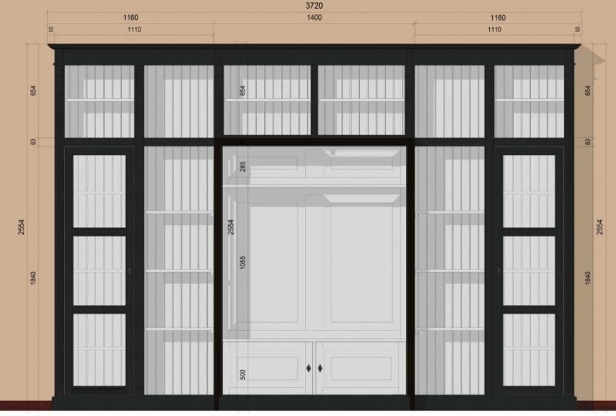 Casa Padrino Luxus Wohnzimmer Schrankwand Schwarz / Weiß B 372 x H ...