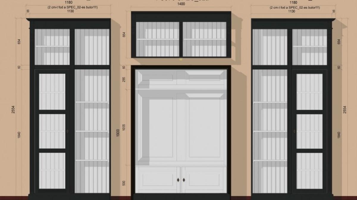 casa padrino luxus wohnzimmer schrankwand schwarz wei b 372 x h 255 cm b cherregal regal. Black Bedroom Furniture Sets. Home Design Ideas