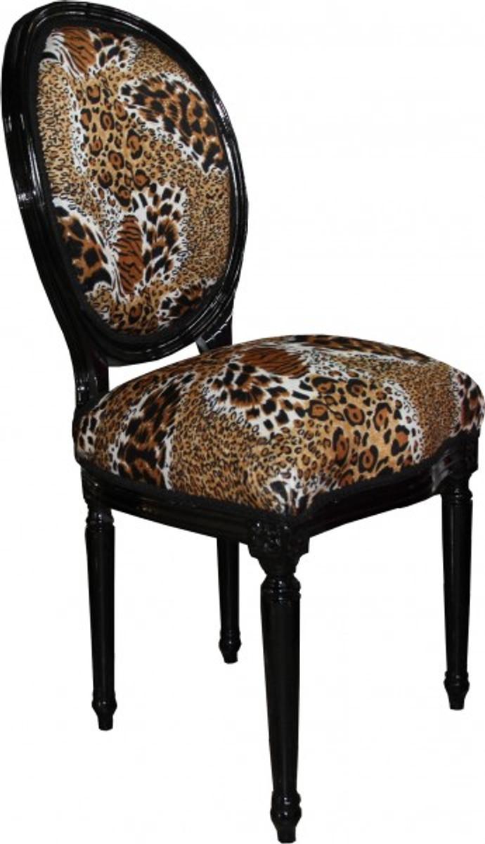 casa padrino barock esszimmer stuhl medallion tiger muster schwarz barock m bel limited. Black Bedroom Furniture Sets. Home Design Ideas