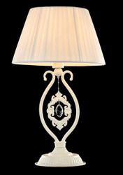 Casa Padrino luxury crystal table lamp white / lampshade white 27 x 46 cm - lamp - Luxury Collection