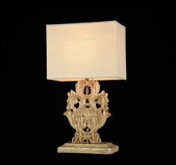 Casa Padrino luxury table lamp oak antique / lampshade white 25 x 41 cm - lamp - Luxury Collection
