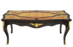 Casa Padrino Baroque Boulle coffee table black / gold / red 130 cm - living room coffee table furniture