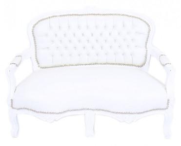 Casa Padrino Barock Kinder Sitzbank Weiß Lederoptik Weiß Antik