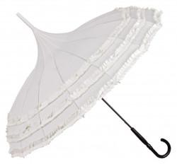 MySchirm Romantik Regenschirm Pagode Ecru Weiß - Jugendstil Design - Eleganter Stockschirm