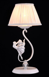 Casa Padrino luxury characters crystal table lamp white silver / lampshade ivory 23 x 47 cm - lamp - Luxury Collection