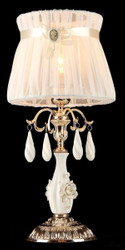 Casa Padrino luxury crystal table lamp gold / lampshade tinged pink 23 x 46 cm - lamp - Luxury Collection
