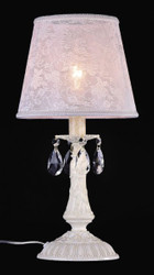 Casa Padrino luxury crystal table lamp ivory / lampshade white 22 x 46 cm - lamp - Luxury Collection