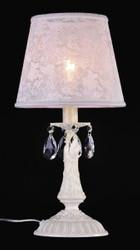 Casa Padrino Luxus Kristall Tischleuchte Elfenbein / Lampenschirm Weiß 22 x 46 cm - Leuchte - Luxury Collection