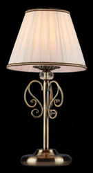 Casa Padrino Luxus Kristall Tischleuchte Bronze / Lampenschirm Braun Weiß 22 x 43 cm - Leuchte - Luxury Collection