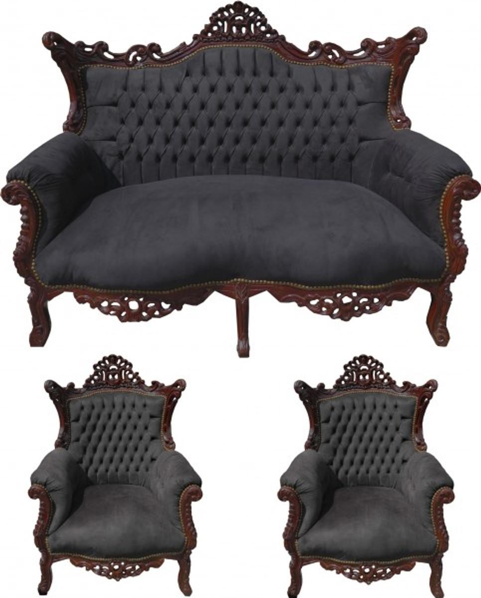 casa padrino barock wohnzimmer set schwarz braun 2er sofa 2 sessel limited edition casa. Black Bedroom Furniture Sets. Home Design Ideas