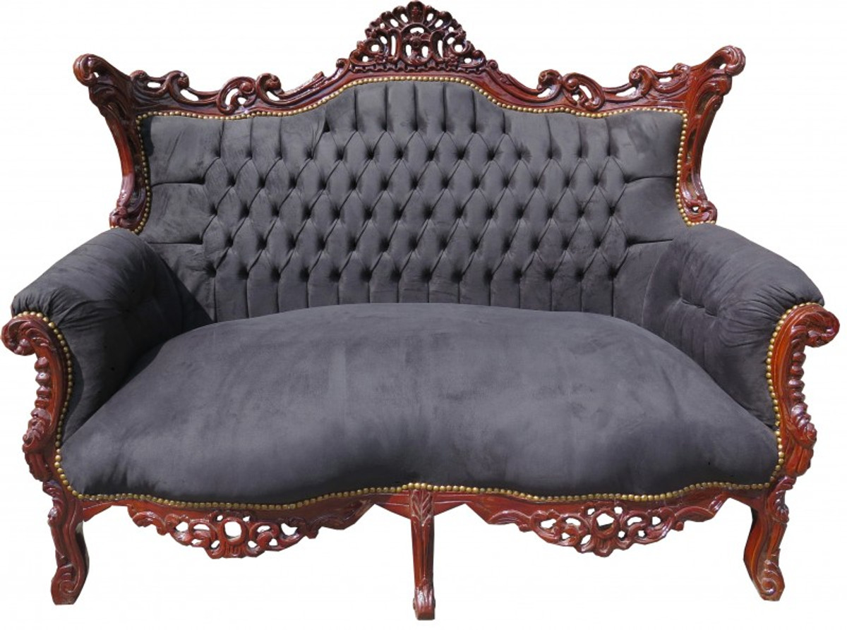 casa padrino barock 2 er sofa master schwarz braun. Black Bedroom Furniture Sets. Home Design Ideas