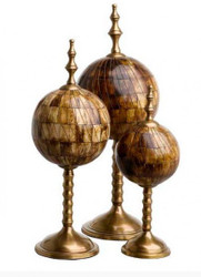 Casa Padrino luxury decoration of 3 spherical sculpture buffalo horn antique brown / brass - Hotel facility