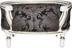 Casa Padrino Baroque Dogs & Cats sofa Black baroque pattern / White / Gold - Dogs chair seat dog bed cat bed dog cat furniture