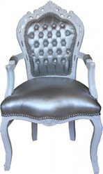 Casa Padrino Baroque Dinner Chair with armrests Silver/White Leatherlook Bling Bling rhinestones