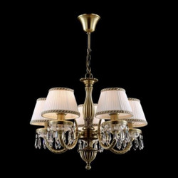 Casa Padrino Baroque ceiling crystal chandelier brass 53.5 x H 39 cm antique style - Furniture Chandelier Chandelier pendant light hanging lamp