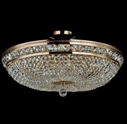 Casa Padrino Baroque ceiling crystal chandelier gold 65 x H 34 cm antique style - Furniture Chandelier Chandelier ceiling lamp