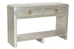 Casa Padrino luxury designer aluminum console with 2 drawers - Art Deco Vintage Aviator furniture