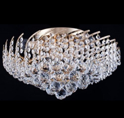 Casa Padrino Baroque ceiling crystal chandelier gold 41 x H 24 cm antique style - Furniture Chandelier Chandelier ceiling lamp