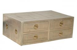 Casa Padrino luxury designer aluminum TV dresser sideboard with drawers 100 x 50 x 50 cm - Art Deco Vintage furniture
