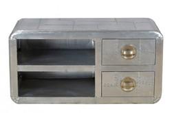 Casa Padrino Luxus Designer Aluminium Fernseher Kommode Sideboard mit 2 Schubladen B 110 cm - Art Deco Vintage Flieger Möbel