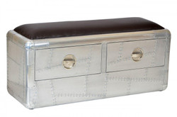 Casa Padrino Art Deco designer flyer Bench aluminum with drawers 110 x 40 x 55 cm - vintage look