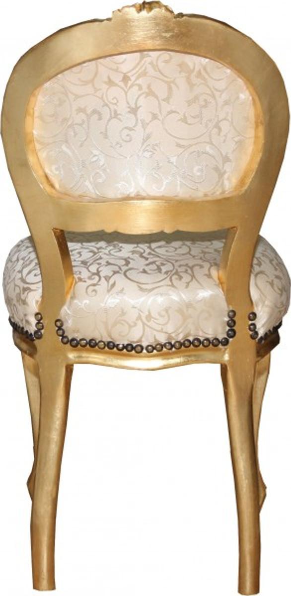 casa padrino barock damen stuhl creme muster gold mit bling bling glitzersteinen. Black Bedroom Furniture Sets. Home Design Ideas