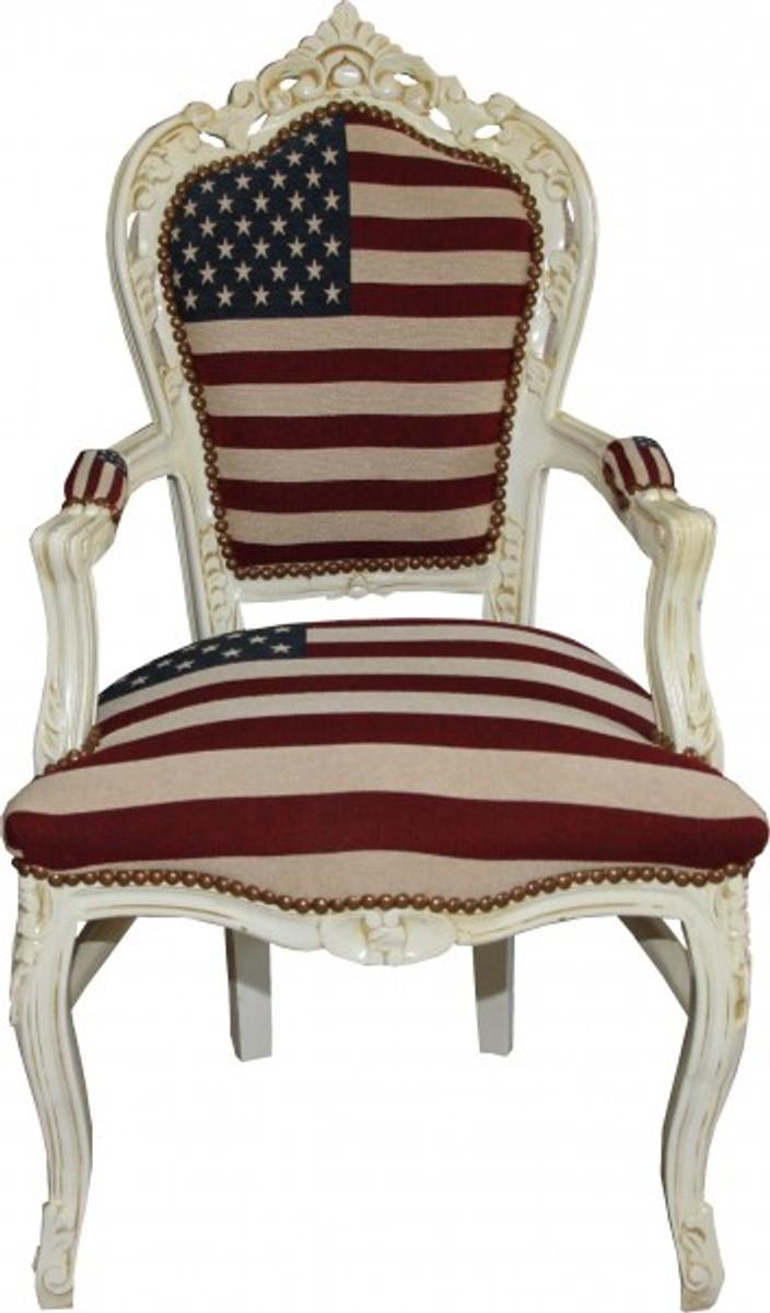 Casa Padrino Barock Esszimmer Stuhl Mit Armlehnen USA / Creme Antik Stil U2013  Bild 1