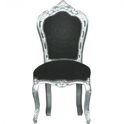 Casa Padrino Baroque Dining Chair Black/Silver - furniture baroque