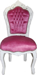Baroque Dinner Chair Pink / White
