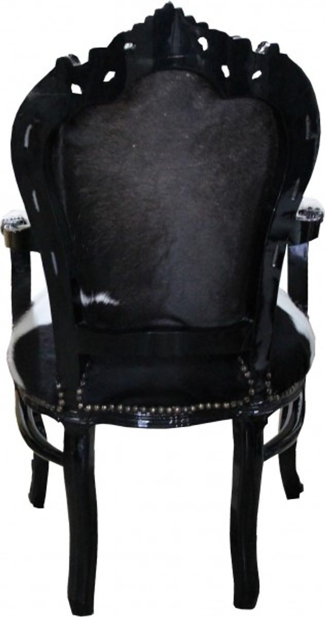 casa padrino barock esszimmer stuhl kuhfell schwarz mit armlehnen echtes kuh fell st hle. Black Bedroom Furniture Sets. Home Design Ideas