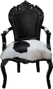 Casa Padrino Barock Esszimmer Stuhl Kuhfell / Schwarz mit Armlehnen - Echtes Kuh Fell – Bild 1