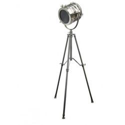 Casa Padrino Vintage Dreifuß Studioleuchte Edelstahl / Aluminium vernickelt 147-179 cm - Stehleuchte Lampe
