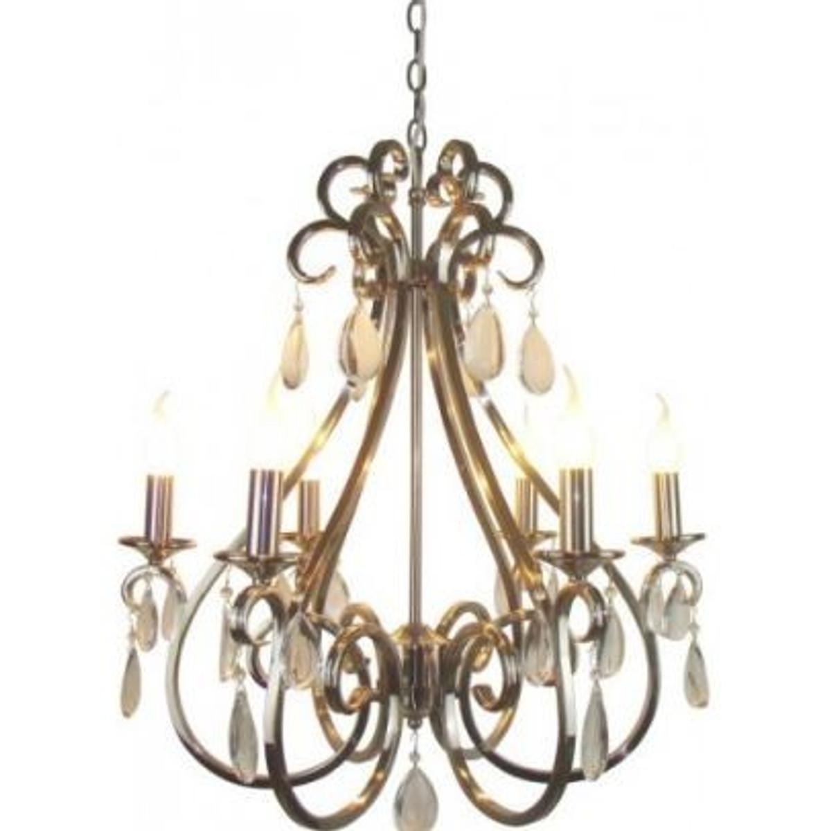 Casa Padrino Barock Decken Kristall Kronleuchter Silber Durchmesser 63 X H  70 Cm Antik Stil   Möbel Lüster Leuchter Deckenleuchte Hängelampe