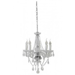 Casa Padrino Baroque Ceiling Crystal Chandelier Clear Diameter 48 x H 55 cm Antique Style - Furniture Chandelier Chandelier Hanging Lamp