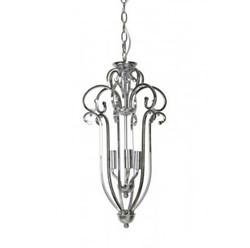 Casa Padrino Hängeleuchte Deckenleuchte Silber Durchmesser 28,5 x H 55 cm - Möbel Lüster Leuchter Deckenleuchte Deckenlampe
