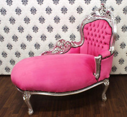 Baroque Kids Chaise Pink / Silver - Recamiere baroque furniture