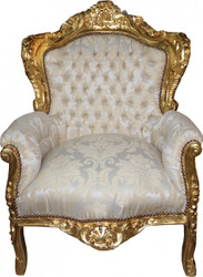 Casa Padrino Baroque Armchair King Cream Pattern / Gold Bouquet - furniture antique style