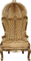 Casa Padrino Barock Thron Sessel Victory Gold Barock Muster / Gold Mod2 - Balloon Chair -Thron Stuhl Tron