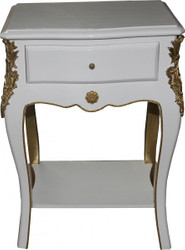 Casa Padrino Baroque Chest of drawers White / Gold H 70 cm, B 49 cm, T 37 cm - Side table Chest of drawers